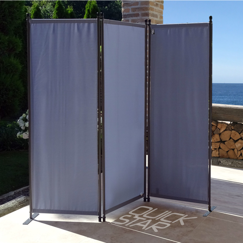 QUICK STAR Paravent 170 x 165 cm Fabric Room Devider Garden 3-Part Patrition Wall Foldable Balcony Privacy Screen Beige