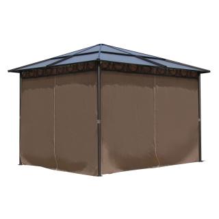 Metall Garten Hardtop Pavillon 3x3m mit 4 Seitenteilen Doppelstegplatten Polycarbonat