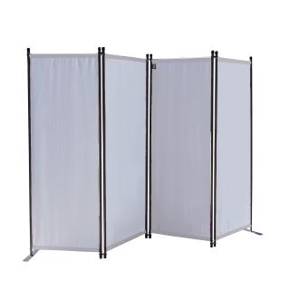 Paravent 4 Teilig 165 x 220 cm Stoff Raumteiler Trennwand Balkon Sichtschutz Stellwand Faltbar Weiß
