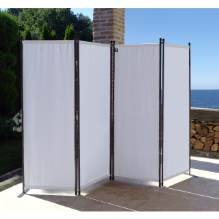 Paravent 220 x 165 cm Fabric Room Devider Garden 4-Part Patrition Wall Foldable Balcony Privacy Screen White