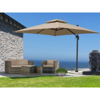 Ampelschirm Premium Mallorca 3x3m Sand UV 50 Terrassenschirm Sonnenschirm
