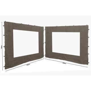 2 Seitenteile 250x190cm für Gartenpavillon Antik Pavillon Partyzelt 3x3m Seitenwand Taupe / Beigegrau RAL 7006