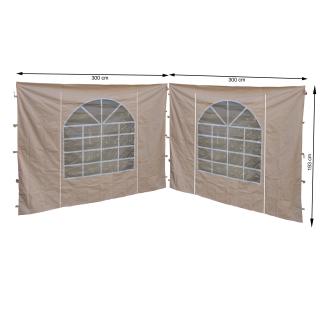 2 Seitenteile mit PVC Fenster 300x195cm für Pavillon Sahara 3x3m Seitenwand Sand