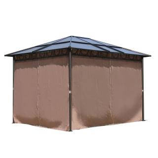 Metall Garten Hardtop Pavillon 3x3,6m mit 4 Seitenteilen Doppelstegplatten Polycarbonat