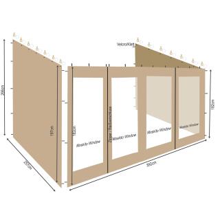 3 Seitenteile zu Rollpavillon 3x4m Sand