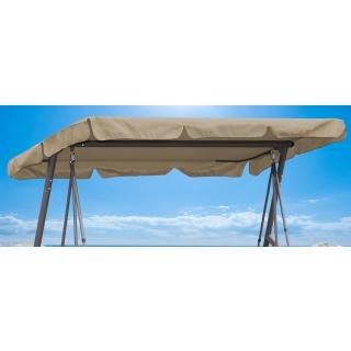 Ersatzdach Gartenschaukel Universal 145x200 cm Hollywoodschaukel 3 Sitzer Sand UV 50 Ersatz Bezug Sonnendach Schaukel Dach
