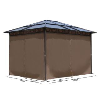 4 Seitenteile für Hardtop Pavillon 3x3,6m Seitenwandset Sichtschutz Vorhänge