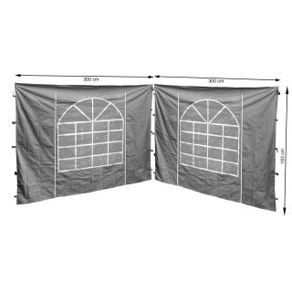 2 Side Panels with PE Window 300x195cm Grey for Gazebo Sahara 3x3m