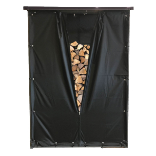 Weather Protection Set Front- and Back Wall PVC Black for Firewood Rack 130 x 70 x 185 cm
