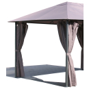 4 Side Panels with Zip 300x195cm Brown-Gray for Gazebo 3x4m