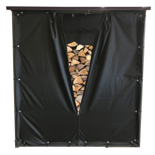 Weather Protection Set Front- and Back Wall PVC Black for Firewood Rack 143 x 70 x 145 cm
