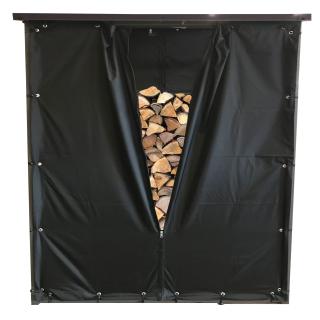 Wetterschutz-Vorhang Set Front und Rückwand zu 143x70x145cm Kaminholzunterstand  PVC Schwarz