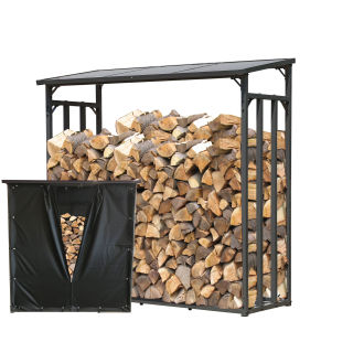 Metal Firewood Shelf Anthracite XXL 143 x 70 x 145 cm Garden Firewood Shelter 1.4 m³ Stacking Aid Outdoor with Weather Protection Black