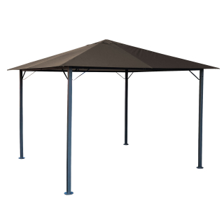 Metal Gazebo 3 x 3 m Brown-Grey