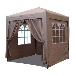 Pop-Up-Pavillon 2 x 2 m Beige mit 4 Easy-Klett Seitenwänden 2 mit Reißverschlüssen