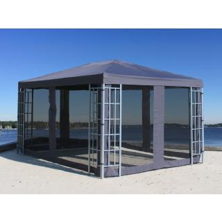 Rank Pavillon Set 3x4m Metall Garten Partyzelt Anthrazit mit 4 Seitenteilen mit Moskitonetz