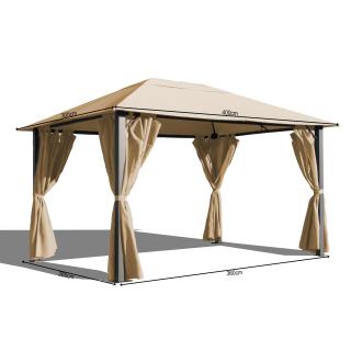 Metall Garten Pavillon Paris 3x4m Antik Sand Partyzelt mit 4 Seitenteilen