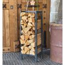 Metal firewood rack anthracite 33x33x115cm garden...