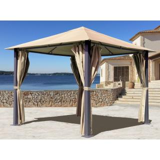 Metall Garten Pavillon Paris 3x3m Antik Sand Partyzelt mit 4 Seitenteilen