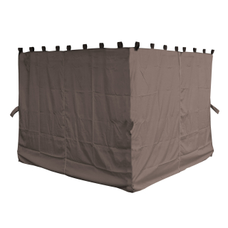 4 Side Panels with Zip 260x195cm Brown-Gray for Gazebo 3x3m