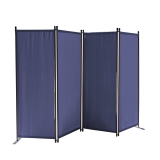 Paravent 220 x 165 cm Fabric Room Devider Garden 4-Part Patrition Wall Foldable Balcony Privacy Screen Blue