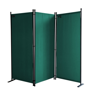Paravent 170 x 165 cm Fabric Room Devider Garden 3-Part Patrition Wall Foldable Balcony Privacy Screen Green