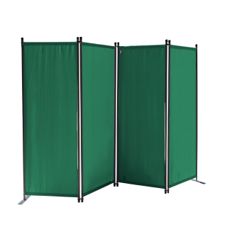 Paravent 220 x 165 cm Fabric Room Devider Garden 4-Part Patrition Wall Foldable Balcony Privacy Screen Green