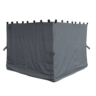 4 Side Panels with Zip 260x195cm Gray for Gazebo 3x3m