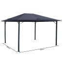 Metall Garten Pavillon Nizza 3x4m Grau mit 4 Seitenteilen Partyzelt