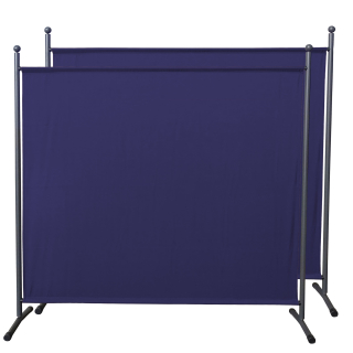 2 Piece Paravent 180 x 178 cm Fabric Room Devider Garden Partition Wall Balcony Privacy Screen Blue