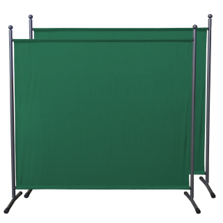 2 Piece Paravent 180 x 178 cm Fabric Room Devider Garden Partition Wall Balcony Privacy Screen Green