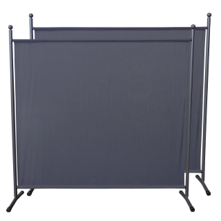 2 Piece Paravent 180 x 178 cm Fabric Room Devider Garden Partition Wall Balcony Privacy Screen Grey