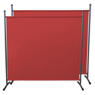 2 Piece Paravent 180 x 178 cm Fabric Room Devider Garden Partition Wall Balcony Privacy Screen orange-red