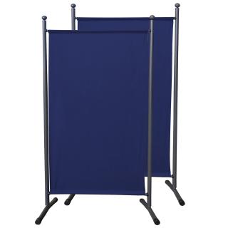 2 Stück Paravent 180 x 78 cm Stoff Raumteiler Klein Stellwand Trennwand Balkon Sichtschutz Blau