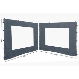 2 Side Panels with PE Window 250x190cm Gray for Gazebo 3x3m