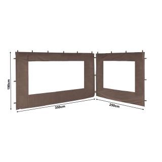 2 Side Panels with PE Window 250/350x190cm Brown-Gray for Gazebo 3x4m