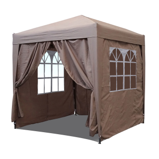 Pop-Up Gazebo 2,5 x 2,5 m Beige with 4 Easy fastening sidewalls with 2 zippers