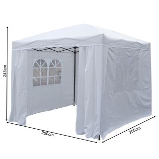 Pop-Up-Pavillon 2 x 2 m Weiss mit Easy-Klett Seitenwänden mit 2 Reißverschlüssen