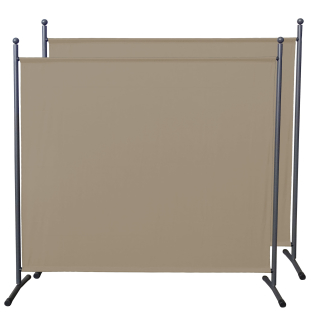 2 Piece Paravent 180 x 178 cm Fabric Room Devider Garden Partition Wall Balcony Privacy Screen Beige