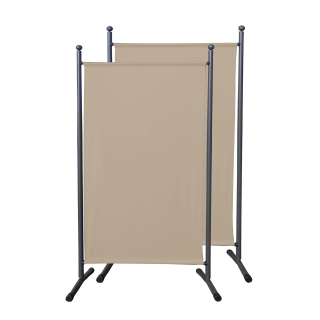 2 Piece Paravent 180 x 78 cm Fabric Room Devider Garden Partition Wall Balcony Privacy Screen Beige