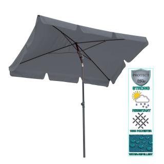 Balcony parasol 200x125cm balcony parasol rectangular foldable grey garden parasol UV 50