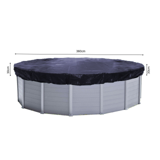 Solar Swimming Pool Cover Round 200g/m² for Poolsize 320 - 366 cm Winter Tarpaulin dimension ø 420 cm Black