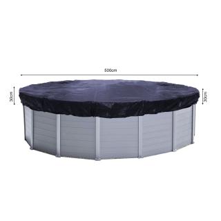 Solar Swimming Pool Cover Round 200g/m² for Poolsize 460 - 500 cm Winter Tarpaulin dimension ø 560 cm Black