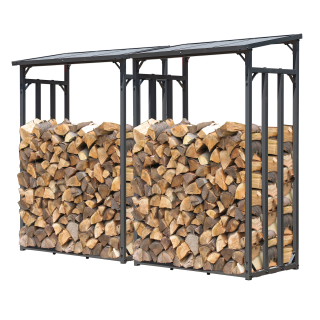 2 Piece Metal firewood rack anthracite XXL 130 x 70 x 185 cm garden firewood shelter 3.2 m³ firewood storage stacking aid outside