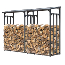 2 Piece Metal firewood rack anthracite XXL 130 x 70 x 185...