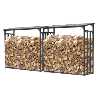 2 Piece Metal firewood rack anthracite XXL 185 x 70 x 185 cm garden firewood shelter 4.6 m³ firewood storage stacking aid outside