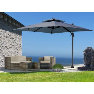 Ampelschirm Premium Mallorca 3x3m Grau UV 50 Terrassenschirm Sonnenschirm mit Schutzhülle