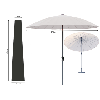 Balkon Sonnenschirm Flexi 270cm Weiß mit Schutzhülle