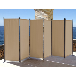 Paravent 340 x 165 cm Fabric Room Devider Garden 6-Part Patrition Wall Foldable Balcony Privacy Screen Beige