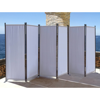 Paravent 340 x 165 cm Fabric Room Devider Garden 6-Part Patrition Wall Foldable Balcony Privacy Screen White
